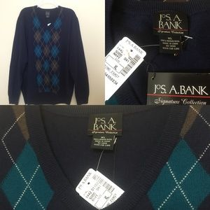 NWT JoS. A. BANK Merino Wool Navy Argyle Sweater